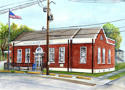 Historic District Post Office Print by Elaine Hodges