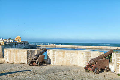 Photograph - historic guns standing in the old historic portuguese fortress city El Jadida in Morocco by Regina Koch