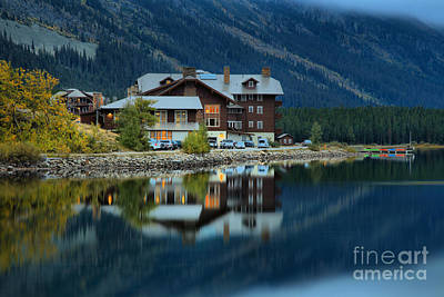 Lodes Photograph - Historic Many Glacier Reflections by Adam Jewell