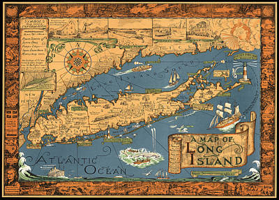 Long Island Drawing - Historical Map Of Li  by Courtand Smith