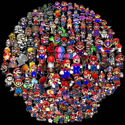 History Of Mario Mosaic Print by Paul Van Scott
