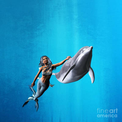 Dolphins Digital Art - Hitching A Ride by Methune Hively