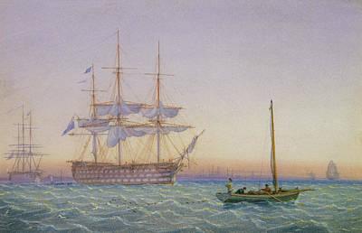 Sailing Ship On Ocean Painting - Hm Frigates At Anchor by John Joy