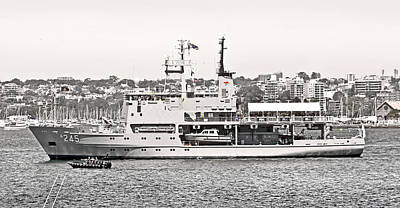 Prince Harry Photograph - Hmas Leeuwin In Black White And Red by Miroslava Jurcik