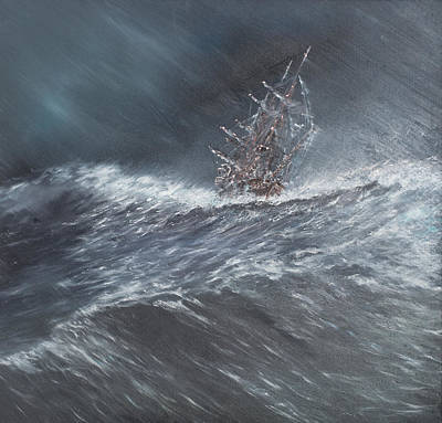 Hms Beagle In A Storm Off Cape Horn Print by Vincent Alexander Booth