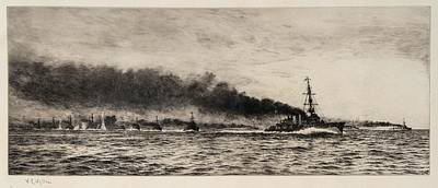 Hms Champion And The 13th Flotilla At The Battle Of Jutland Print by MotionAge Designs