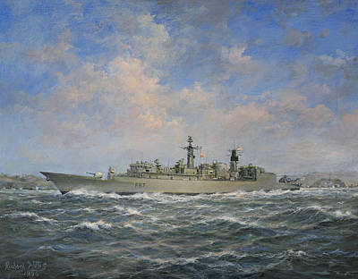 Helicopter Painting - Hms Chatham by Richard Willis