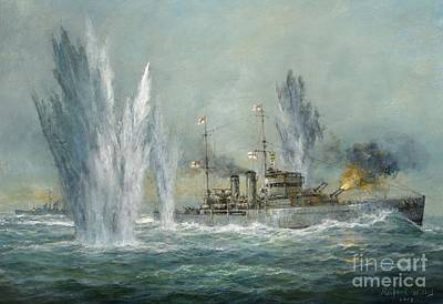 Explosions Painting - Hms Exeter Engaging In The Graf Spree At The Battle Of The River Plate by Richard Willis