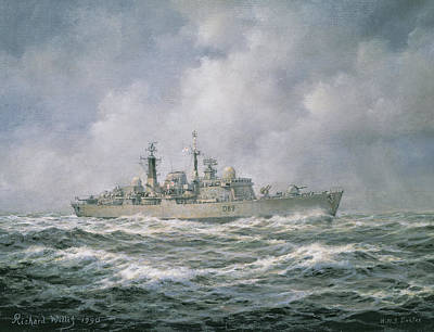 Sun Rays Painting - Hms Exeter by Richard Willis