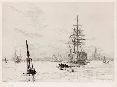 Hms Victory In Portsmouth Harbour Print by William Lionel Wyllie