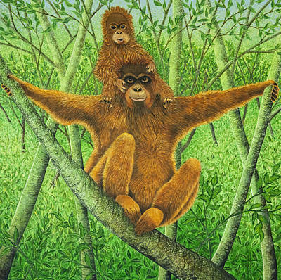 Ape Painting - Hnag On In There by Pat Scott