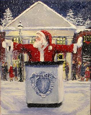 Police Christmas Card Painting - Ho Ho Go... by Jack Skinner