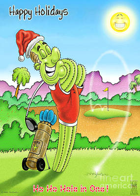 Holiday Cacti Drawing - Ho Ho Hole In One by Cristophers Dream Artistry