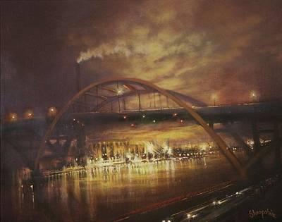 Night City Painting - Hoan Bridge by Tom Shropshire