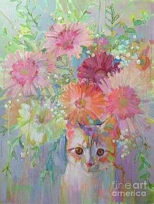 Orange Tabby Painting - Hobbes by Kimberly Santini
