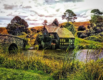 Hobbiton Mill And Bridge Print by Kathy Kelly