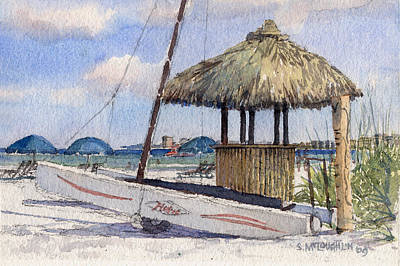 Hobie And Tiki On Crescent Beach Print by Shawn McLoughlin