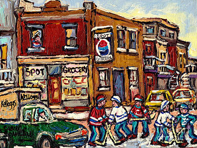 Hockey Art Montreal Memories Spot Grocery Original Canadian Painting Winter Scenes Carole Spandau Original by Carole Spandau