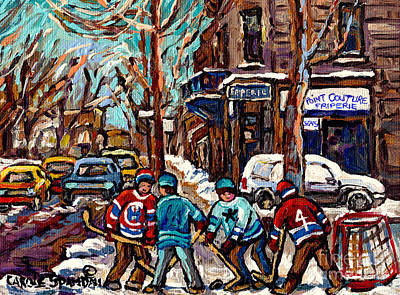 Hockey Art The Boys Of Psc Cold Day At The Pointe Friperie Canadian Art Original Painting C Spandau Original by Carole Spandau