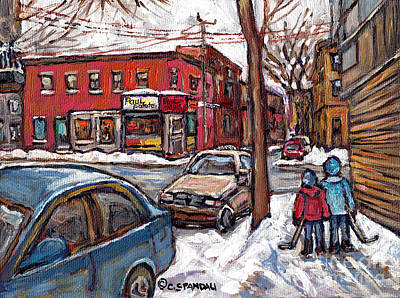 Hockey Buddies In The Pointe Connie's Pizza Corner Paul Patates Montreal Winter Scenes Painting  Print by Carole Spandau