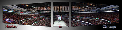 Mixed Media - Hockey In Chicago Triptych 3 Panel by Thomas Woolworth
