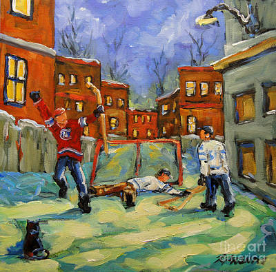 Canadian Sports Painting - Hockey Kids He Scores by Richard T Pranke