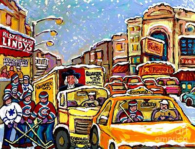 Hockey Kids On Main Street Montreal Memories Lindy's Restaurant Rialto Theatre Canadian Winter Scene Original by Carole Spandau