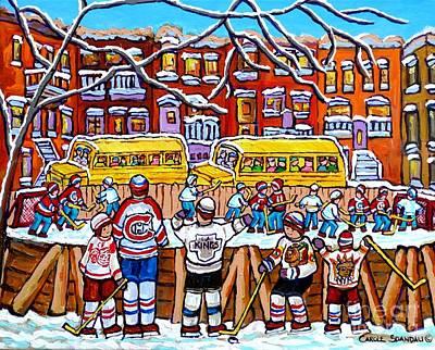 Hockey Games Painting - Outdoor Hockey Rink Scene Neighborhood School Buses Six Team Jerseys Canadian Art Carole Spandau by Carole Spandau