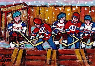 Montreal Canadiens Painting - Hockey Rink Paintings New York Rangers Vs Habs Original Six Teams Hockey Winter Scene Carole Spandau by Carole Spandau