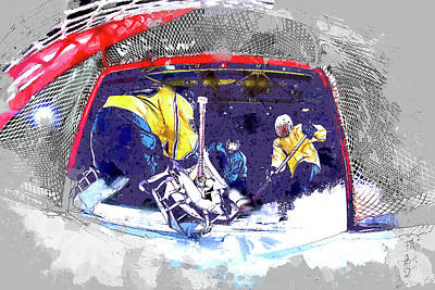 Ice Hockey Painting - Hockey Score Attempt From The Ice Level by Elaine Plesser
