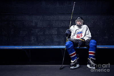 Benches Photograph - Hockey Strong by Evelina Kremsdorf
