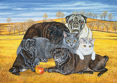 Hocking County Pug Cats Print by Ditz