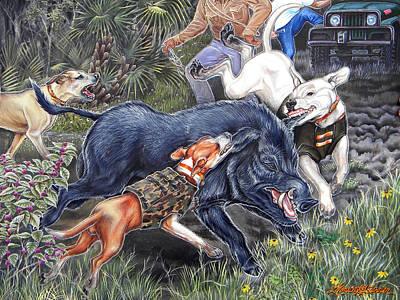 Palmettos Painting - Hog Hammock Earrings by Monica Turner