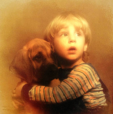 Great Dane Digital Art - Hold On Tight by Theresa Campbell