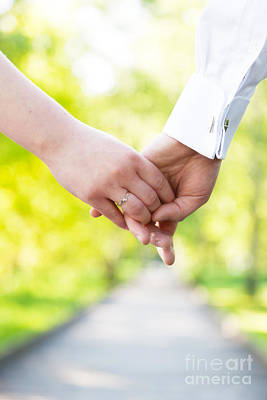 Couple Photograph - Holding Hands Close-up by Michal Bednarek