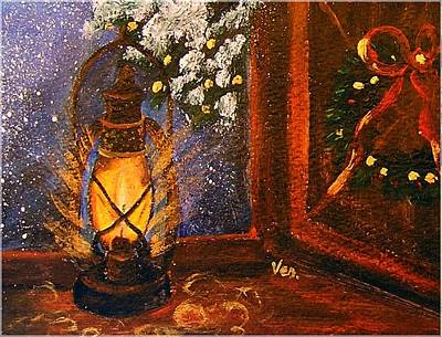 Night Lamp Painting - Holiday Cards by Vesna Martinjak