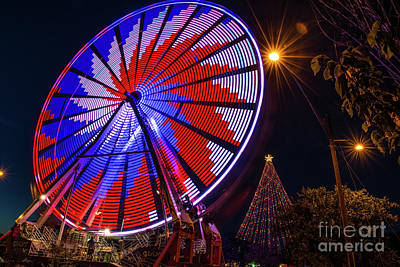 Dark Skies Photograph - Holiday Ferris Wheel  by Tod and Cynthia Grubbs