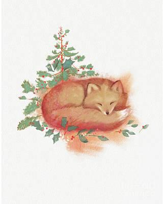 Holiday Fox Print by Tracy Herrmann
