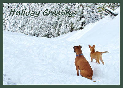 Boxer Puppy Digital Art - Holiday Greeters by Wendy Rickwalt