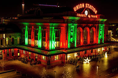 Train In The Winter Photograph - Holiday Lights At Union Station Denver by Teri Virbickis