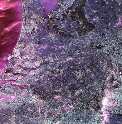 Holland From Space Print by Leonardo Sandon