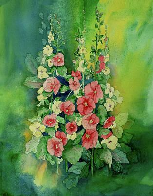Holly Hocks Painting - Holly Hocks by Joan Nee