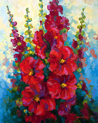 Spring Landscape Painting - Hollyhocks by Marion Rose