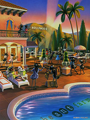 Swimming Pool Painting - Hollywood Ants Cocktail Party by Robin Moline