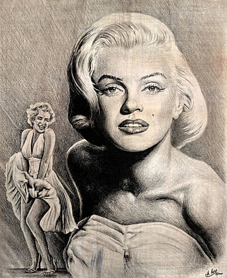 Marilyn Drawing - Hollywood Greats Marilyn Monroe by Andrew Read