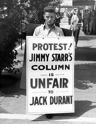 Hollywood Protest Print by Underwood Archives