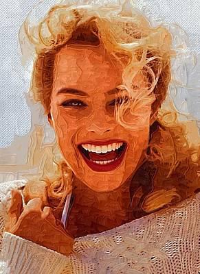 Orlando Bloom Digital Art - Hollywood Star Margot Robbie by Best Actors