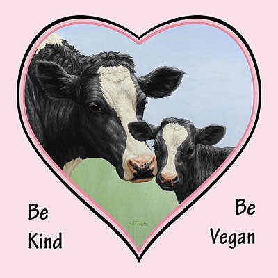 Holstein Cow And Calf Pink Heart Vegan Print by Crista Forest