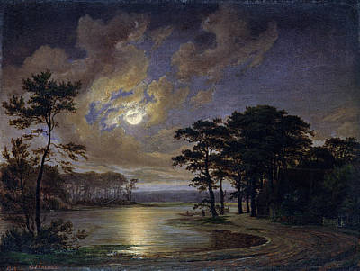Holstein Sea Moonlight Print by Johann Georg Haeselich