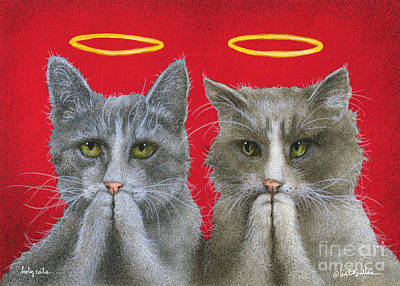 Humorous Cat Painting - Holy Cats... by Will Bullas